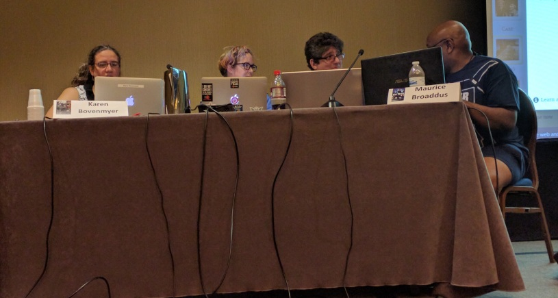 Karen Bovenmyer, Mur Lafferty, Rich Dansky, and Maurice Broaddus collaborate on a tale during the Storium Live panel.