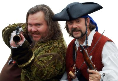 "Mark Summers (""Cap'n Slappy"") and John Baur (""Ol' Chumbucket""), founders of Talk Like a Pirate Day, used under a Creative Commons Attribution license v3.0 from talklikeapirate.com (via Wikimedia)"
