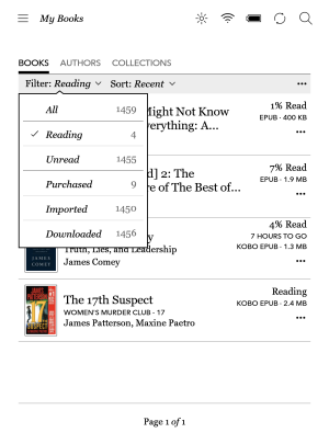 Kobo's filter option allows you to select from only those books you are currently reading.
