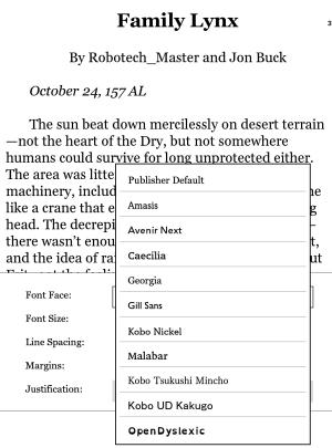 The Kobo Clara HD's font list.