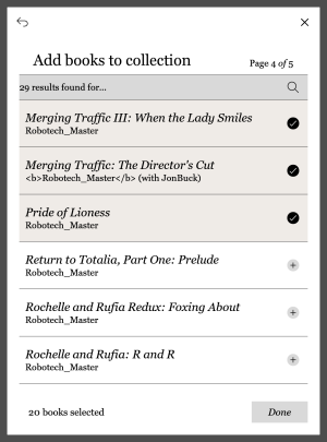 Create collections by adding check-marks to books you want to include.