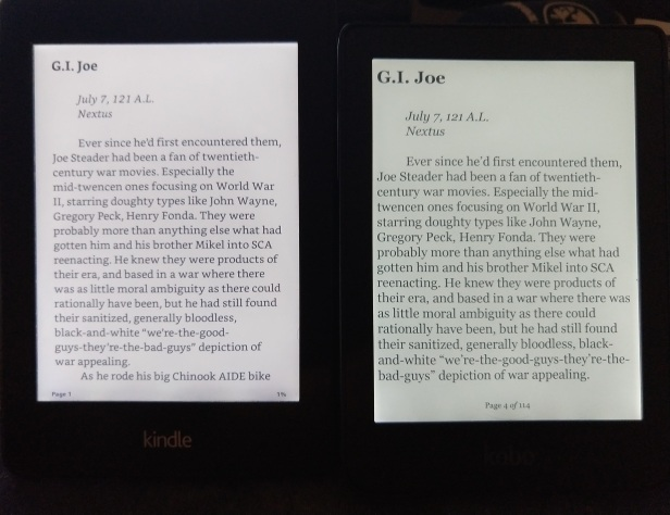 A side-by-side comparison of the Paperwhite and Clara at similar font sizes shows the Clara seems to have a better hyphenation algorithm, and also shows a little less text due to the wide gap for the page number display.