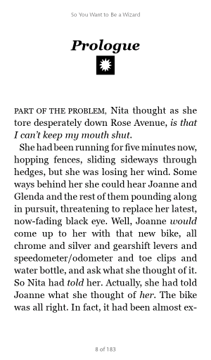 Screenshot of Nook reading app, with full justification on.