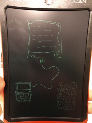 This is an e-reader connected to a computer, next to the bookshelf full of books an e-reader can replace. Fear my artistic talent!