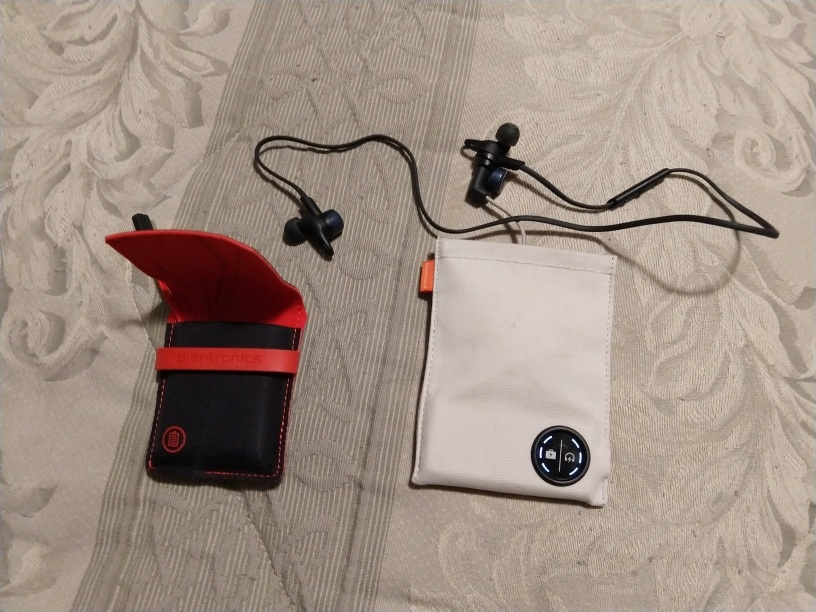 My Backbeat Go 3 headphones and carrying pouch, with the pouch from my Backbeat Go 2 model for comparison