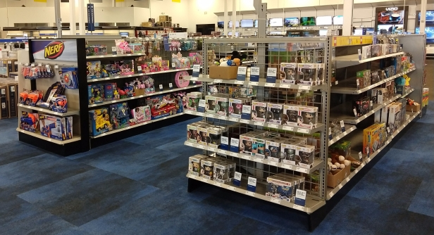 Part of the toy section in my local Best Buy. There are several more aisles out of view to the right.
