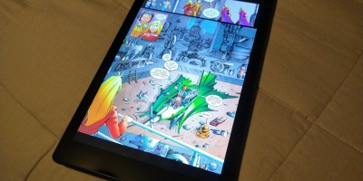 A page from the second Girl Genius webcomic collection, as displayed on my Fire HD 10.